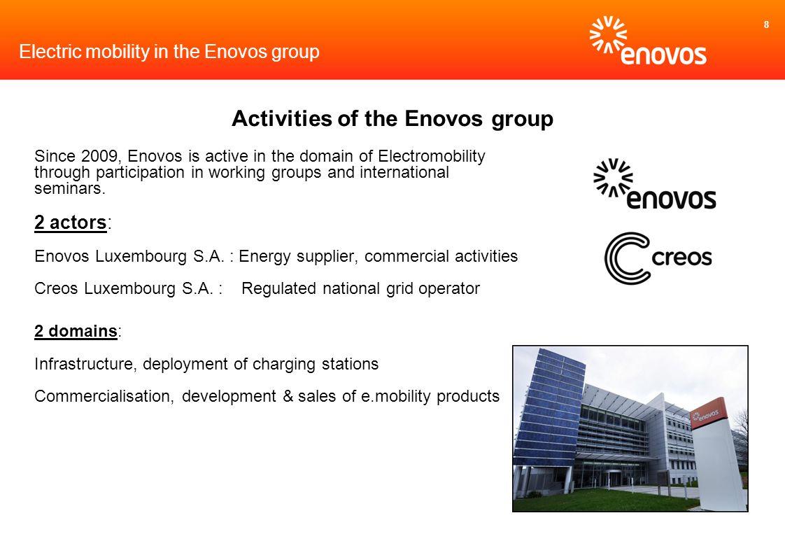 8 Electric mobility in the Enovos group Activities of the Enovos group Since 2009, Enovos is active in the domain of Electromobility through participa
