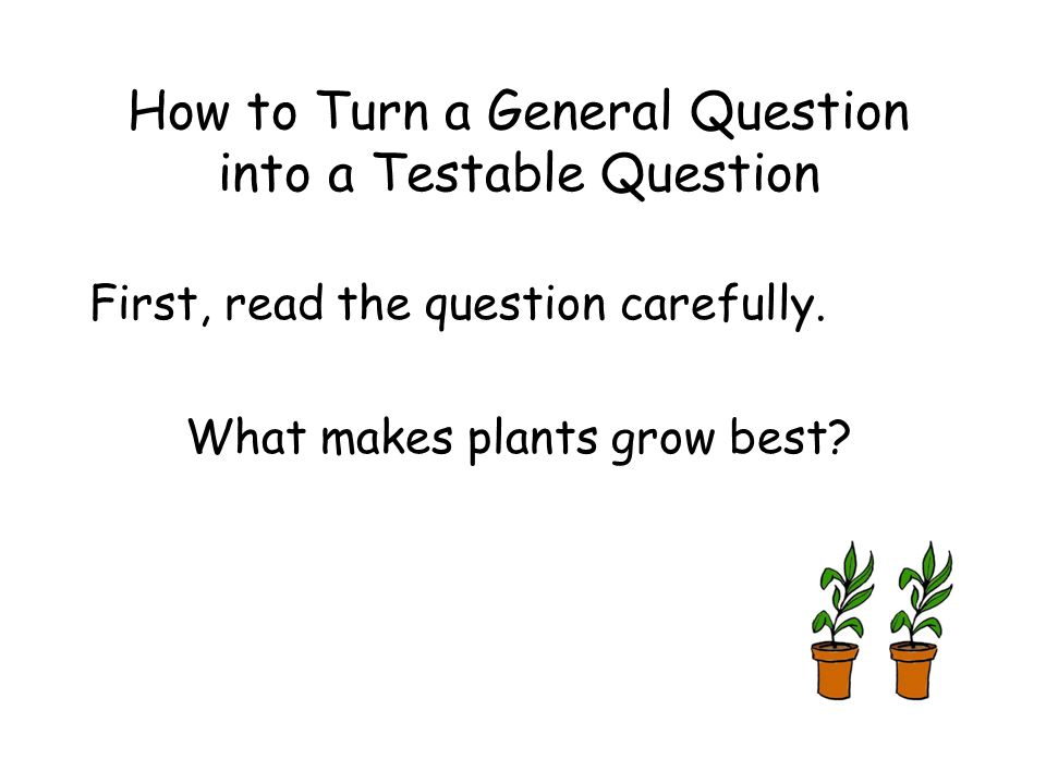 How to Turn a General Question into a Testable Question First, read the question carefully.