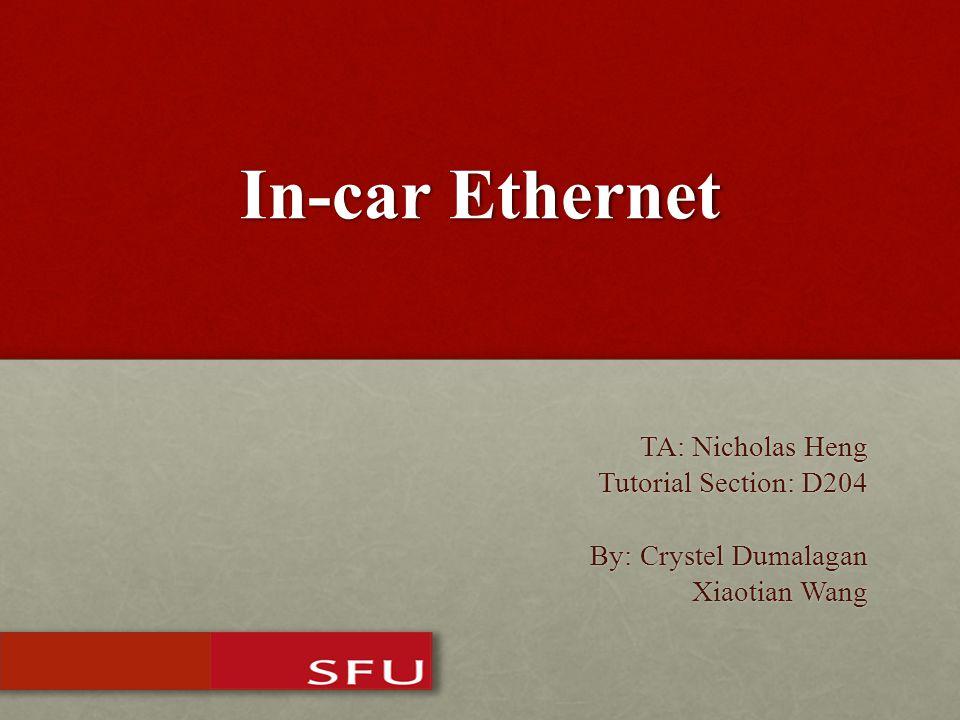 In-car Ethernet TA: Nicholas Heng Tutorial Section: D204 By: Crystel Dumalagan Xiaotian Wang Xiaotian Wang
