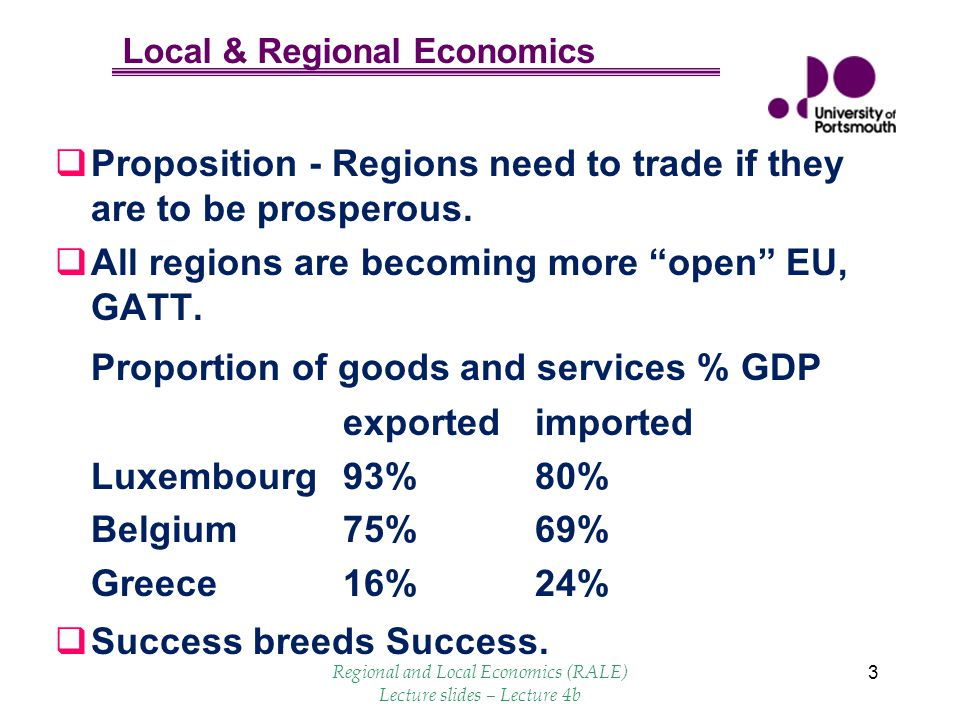 Local & Regional Economics 3 Proposition - Regions need to trade if they are to be prosperous. All regions are becoming more open EU, GATT. Proportion