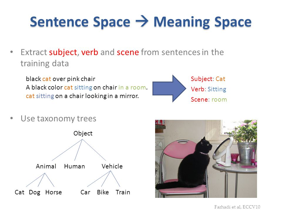 Sentence Space Meaning Space Extract subject, verb and scene from sentences in the training data Subject: Cat Verb: Sitting Scene: room black cat over
