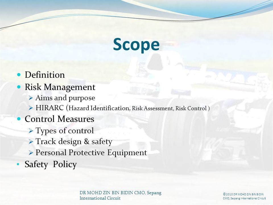 DR MOHD ZIN BIN BIDIN CMO, Sepang International Circuit Scope Definition Risk Management Aims and purpose HIRARC ( Hazard Identification, Risk Assessm