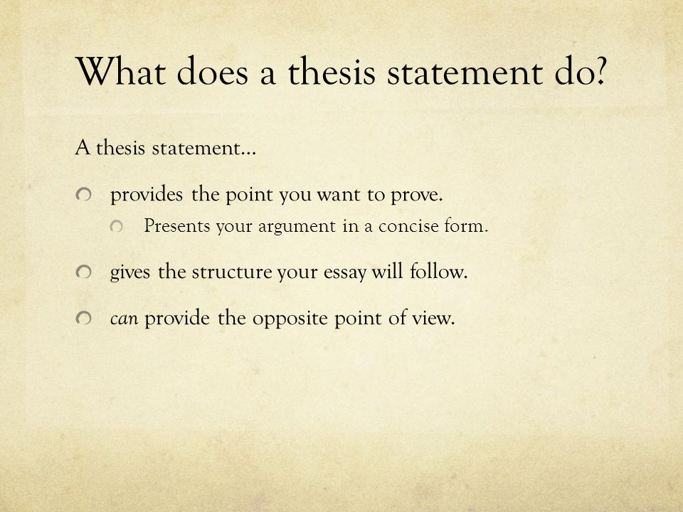 Where Does the THESIS STATEMENT Go?