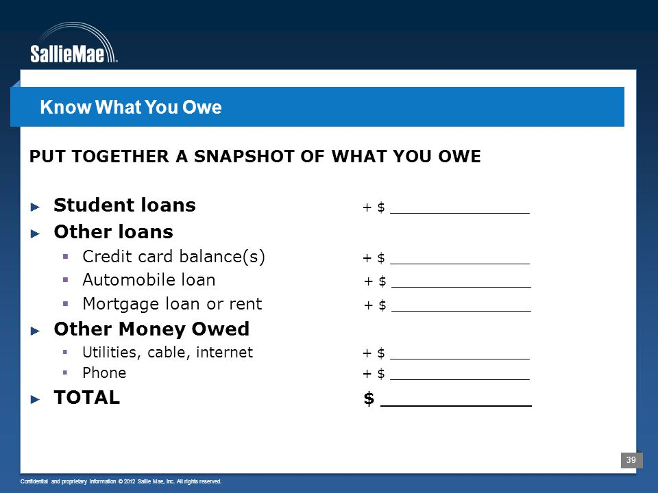Confidential and proprietary information © 2012 Sallie Mae, Inc.