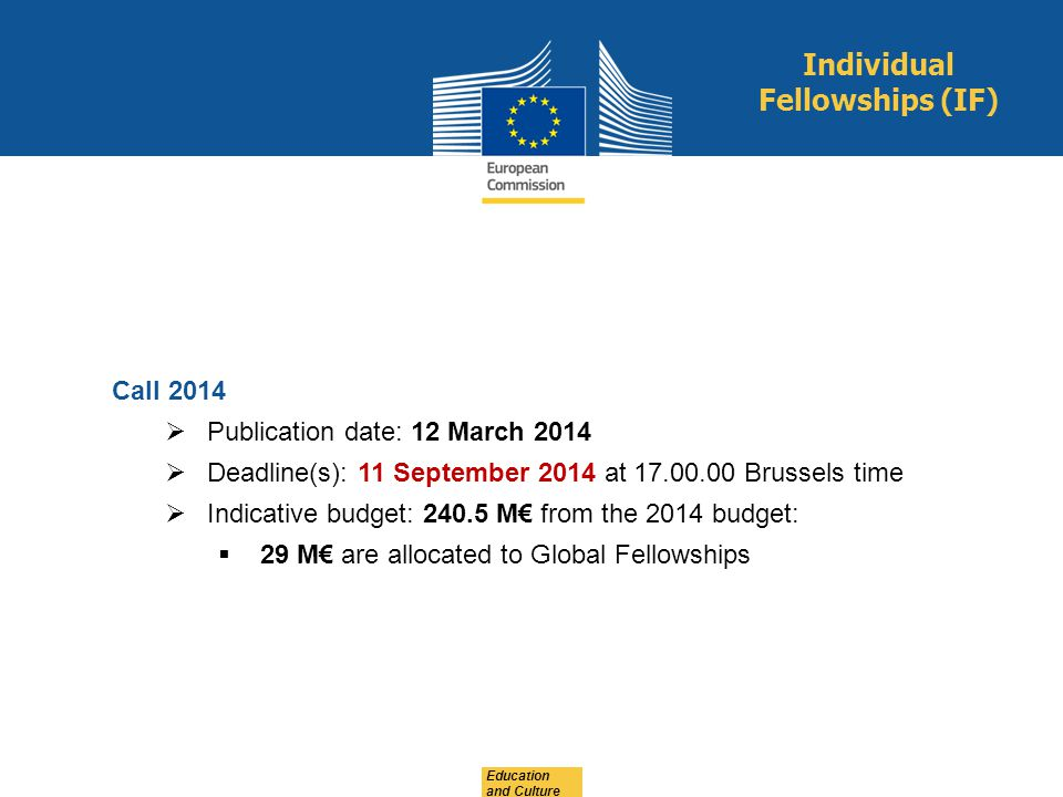 Education and Culture Call 2014 Publication date: 12 March 2014 Deadline(s): 11 September 2014 at 17.00.00 Brussels time Indicative budget: 240.5 M fr