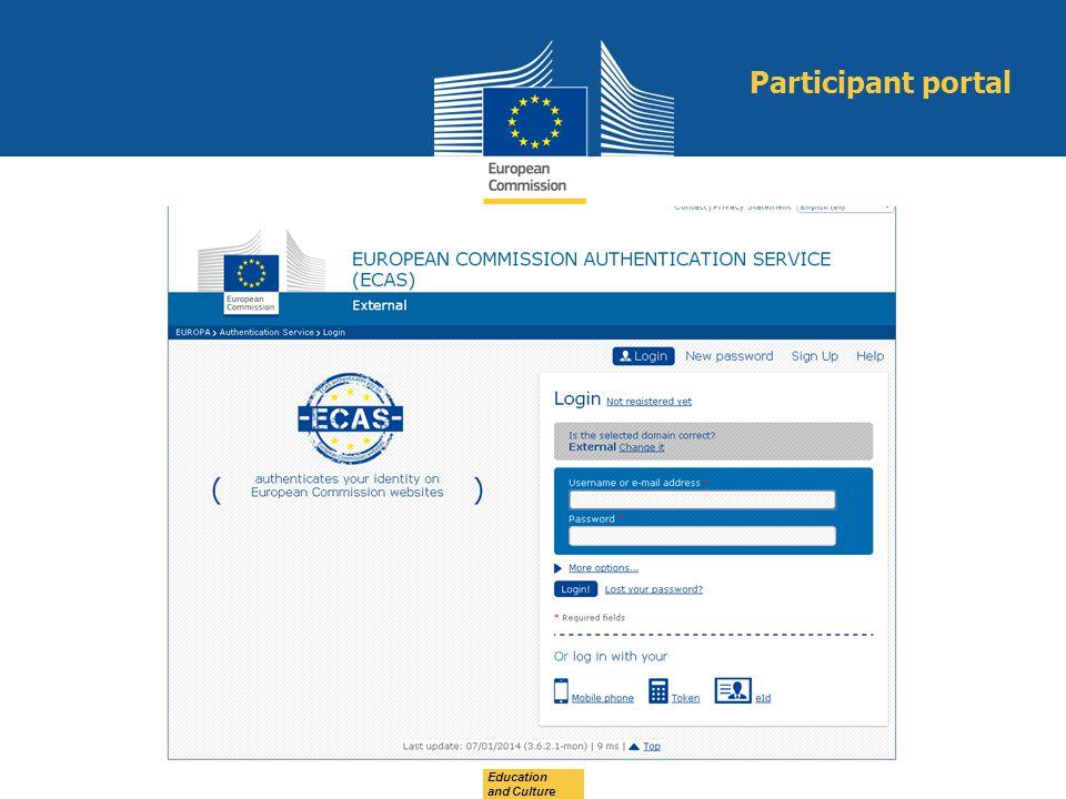 Education and Culture Participant portal