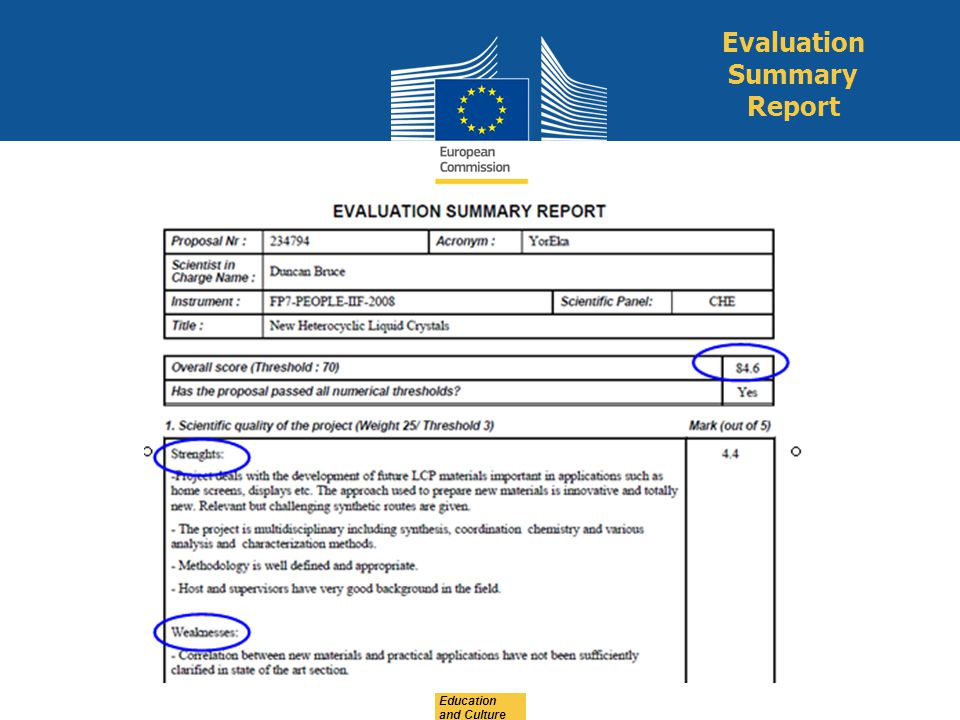 Education and Culture Evaluation Summary Report