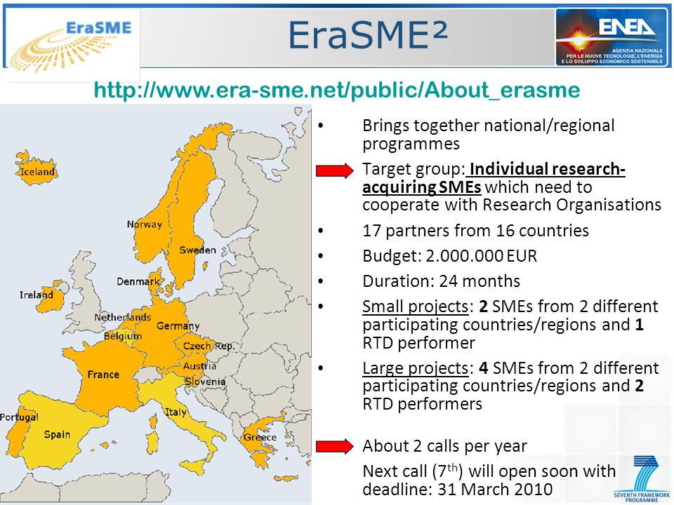 EraSME² Brings together national/regional programmes Target group: Individual research- acquiring SMEs which need to cooperate with Research Organisations 17 partners from 16 countries Budget: 2.000.000 EUR Duration: 24 months Small projects: 2 SMEs from 2 different participating countries/regions and 1 RTD performer Large projects: 4 SMEs from 2 different participating countries/regions and 2 RTD performers About 2 calls per year Next call (7 th ) will open soon with deadline: 31 March 2010 http://www.era-sme.net/public/About_erasme