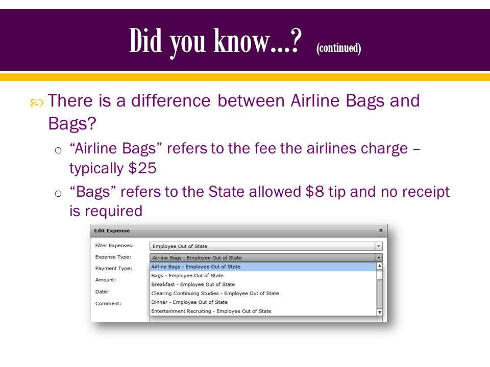There is a difference between Airline Bags and Bags.