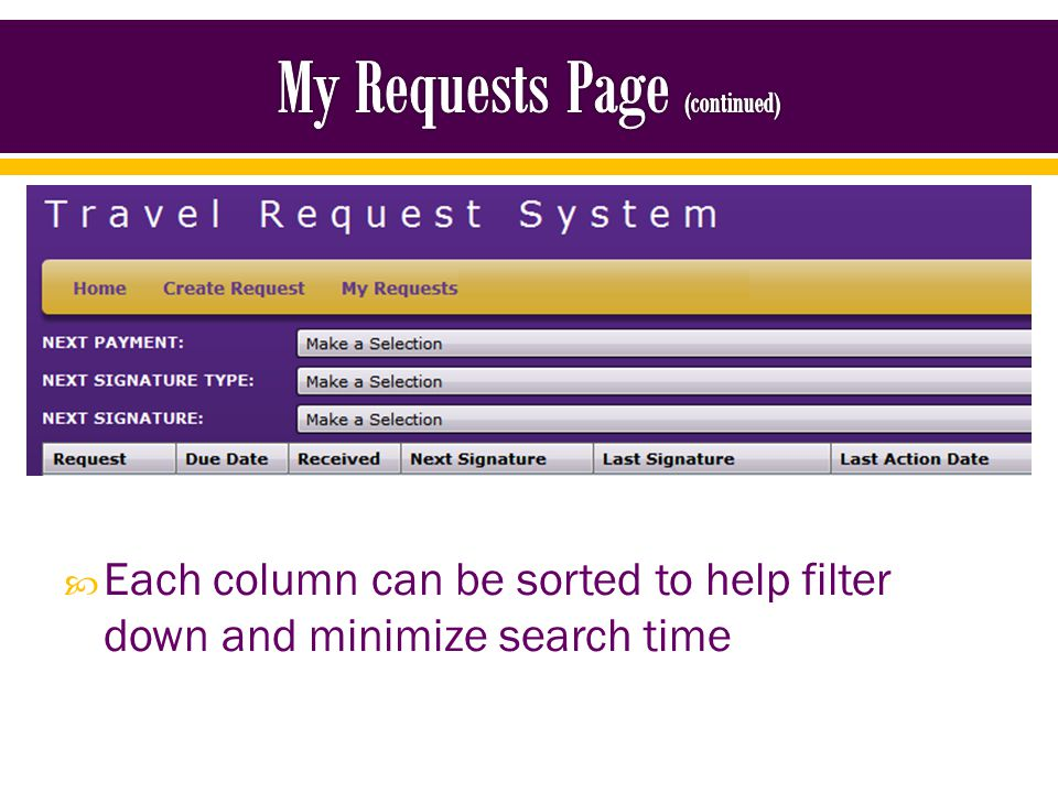 Each column can be sorted to help filter down and minimize search time