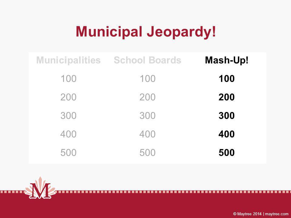 Municipal Jeopardy! MunicipalitiesSchool BoardsMash-Up! 100 200 300 400 500