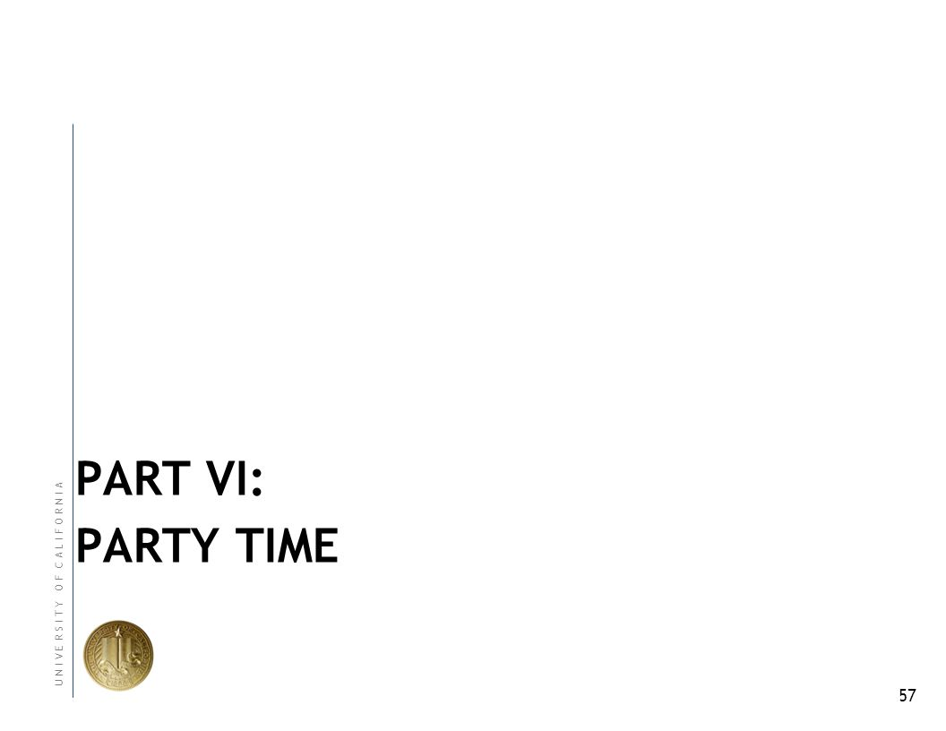 57 U N I V E R S I T Y O F C A L I F O R N I A PART VI: PARTY TIME