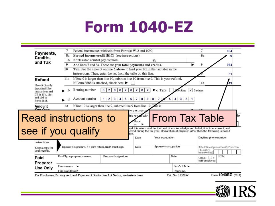Form 1040-EZ Read instructions to see if you qualify From Tax Table