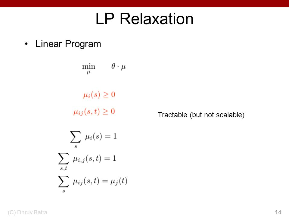 LP Relaxation Linear Program (C) Dhruv Batra14 Tractable (but not scalable)