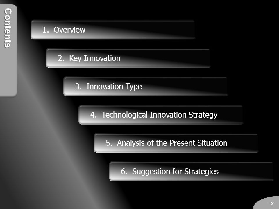 Contents 1. Overview 2. Key Innovation 3. Innovation Type 4. Technological Innovation Strategy 6. Suggestion for Strategies - 2 - 5. Analysis of the P