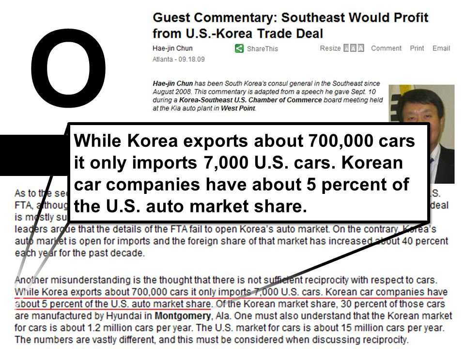 - 29 - O While Korea exports about 700,000 cars it only imports 7,000 U.S. cars. Korean car companies have about 5 percent of the U.S. auto market sha
