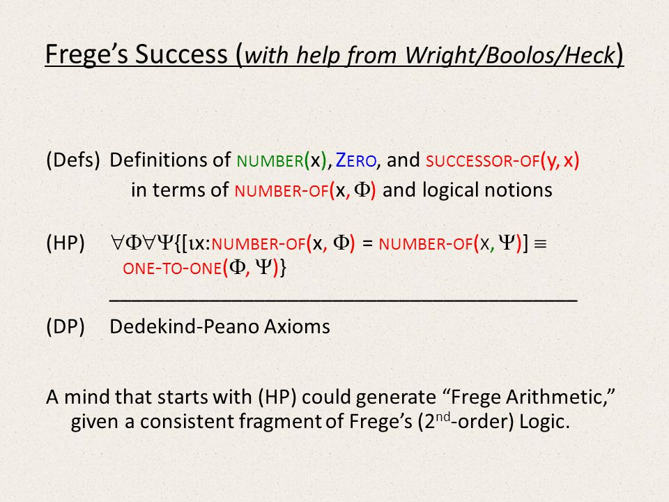 Freges Success ( with help from Wright/Boolos/Heck ) (Defs) Definitions of NUMBER (x), Z ERO, and SUCCESSOR - OF (y, x) in terms of NUMBER - OF (x, ) and logical notions (HP) {[ x: NUMBER - OF (x, ) = NUMBER - OF ( X, )] ONE - TO - ONE (, )} __________________________________________ (DP) Dedekind-Peano Axioms A mind that starts with (HP) could generate Frege Arithmetic, given a consistent fragment of Freges (2 nd -order) Logic.