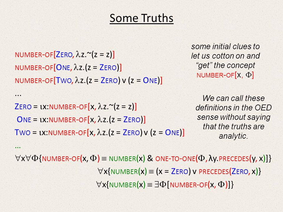 Some Truths NUMBER - OF [Z ERO, z.~(z = z)] NUMBER - OF [O NE, z.(z = Z ERO )] NUMBER - OF [T WO, z.(z = Z ERO ) v (z = O NE )]...