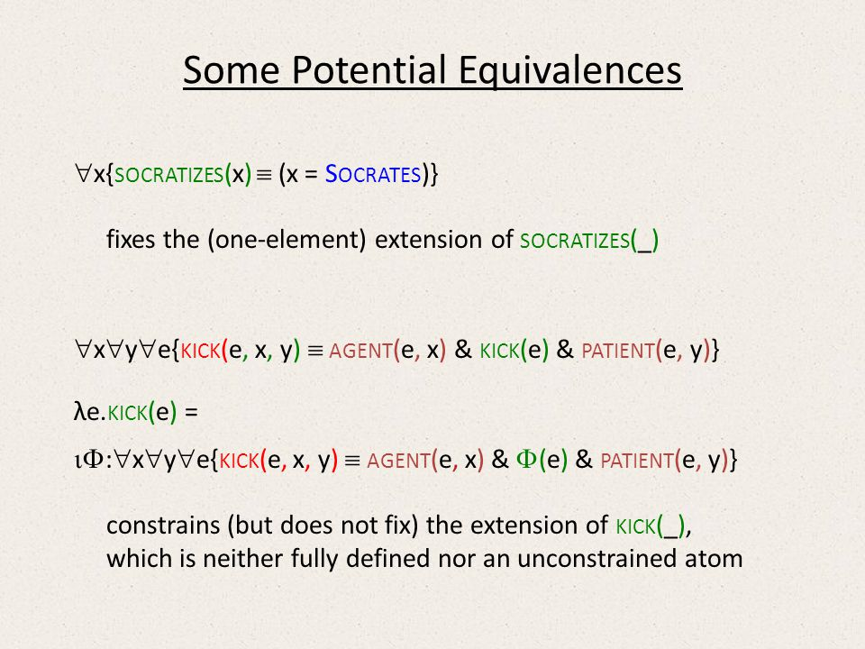 Some Potential Equivalences x{ SOCRATIZES (x) (x = S OCRATES )} fixes the (one-element) extension of SOCRATIZES (_) x y e{ KICK (e, x, y) AGENT (e, x) & KICK (e) & PATIENT (e, y)} λe.