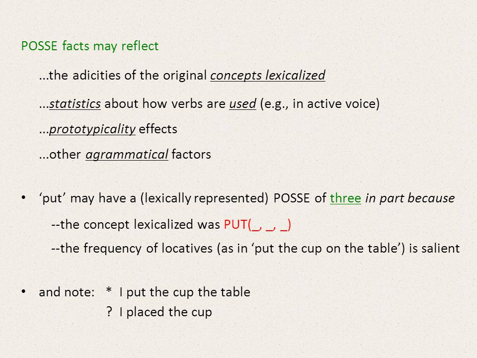 POSSE facts may reflect...the adicities of the original concepts lexicalized...statistics about how verbs are used (e.g., in active voice)...prototypicality effects...other agrammatical factors put may have a (lexically represented) POSSE of three in part because --the concept lexicalized was PUT(_, _, _) --the frequency of locatives (as in put the cup on the table) is salient and note: * I put the cup the table .