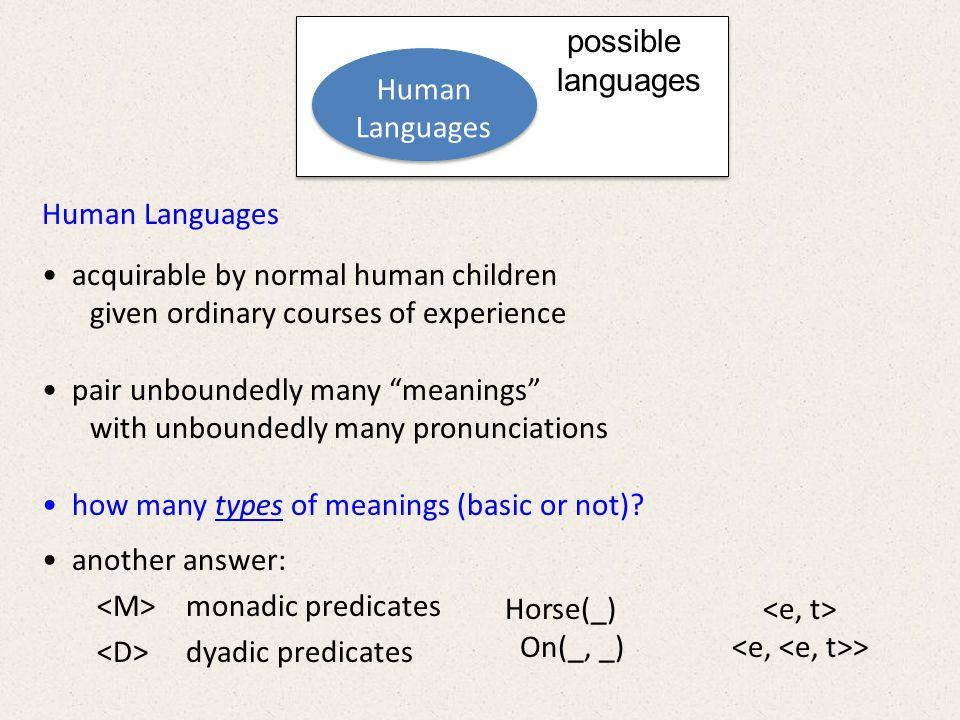 We can imagine/invent a language that has… (1) finitely many atomic monadic predicates: M 1 (_) … M k (_) (2) finitely many atomic dyadic predicates: D 1 (_, _) … D j (_, _) (3) boundlessly many complex monadic predicates Monad + Monad Monad Dyad + Monad Monad BROWN(_) + HORSE(_) BROWN(_)^HORSE(_) FAST(_) + BROWN(_)^HORSE(_) FAST(_)^BROWN(_)^HORSE(_)