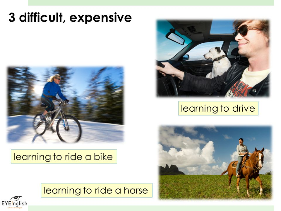 3 difficult, expensive learning to drive learning to ride a bike learning to ride a horse