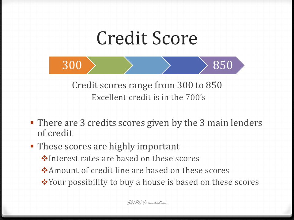 Credit Score Credit scores range from 300 to 850 Excellent credit is in the 700s There are 3 credits scores given by the 3 main lenders of credit These scores are highly important Interest rates are based on these scores Amount of credit line are based on these scores Your possibility to buy a house is based on these scores SHPE Foundation