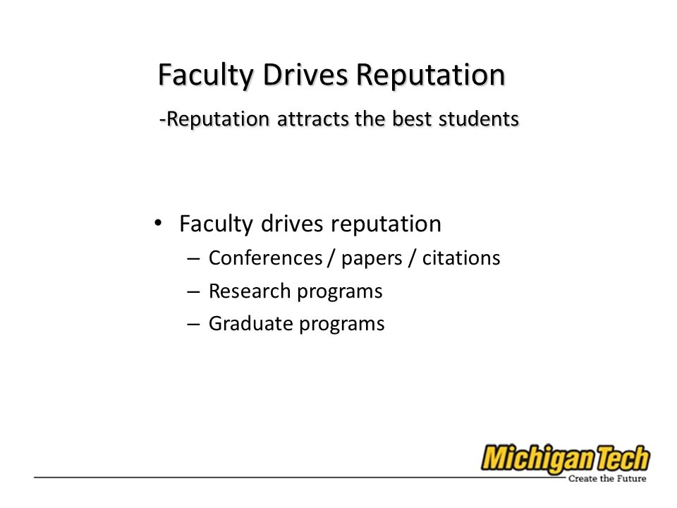 Faculty drives reputation – Conferences / papers / citations – Research programs – Graduate programs Faculty Drives Reputation -Reputation attracts the best students