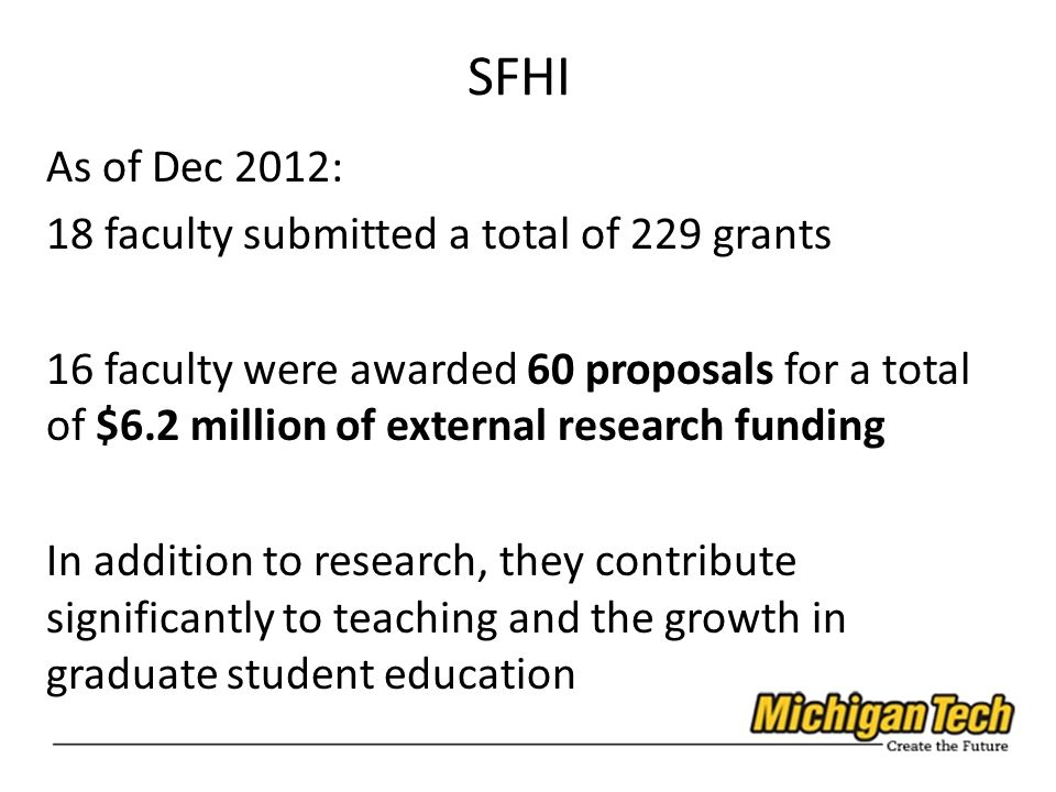 SFHI As of Dec 2012: 18 faculty submitted a total of 229 grants 16 faculty were awarded 60 proposals for a total of $6.2 million of external research