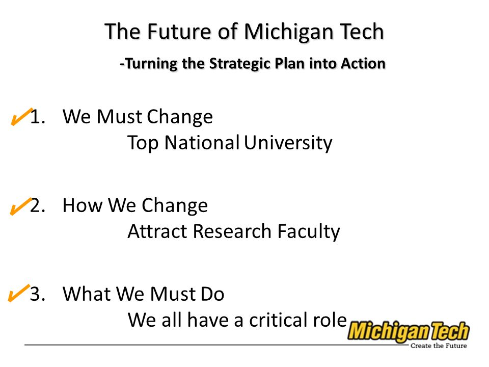 1.We Must Change Top National University 2.How We Change Attract Research Faculty 3.What We Must Do We all have a critical role The Future of Michigan Tech -Turning the Strategic Plan into Action