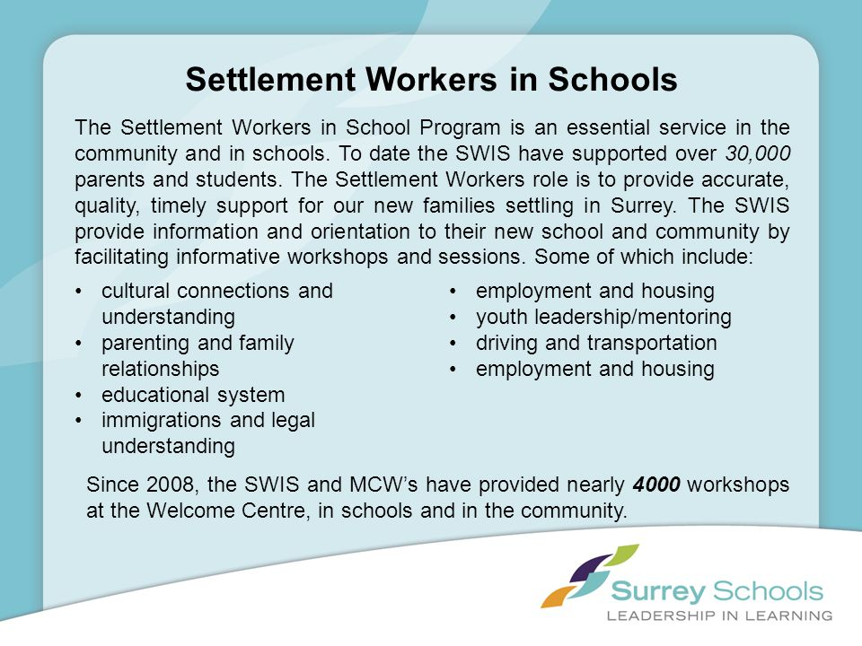 Settlement Workers in Schools The Settlement Workers in School Program is an essential service in the community and in schools. To date the SWIS have