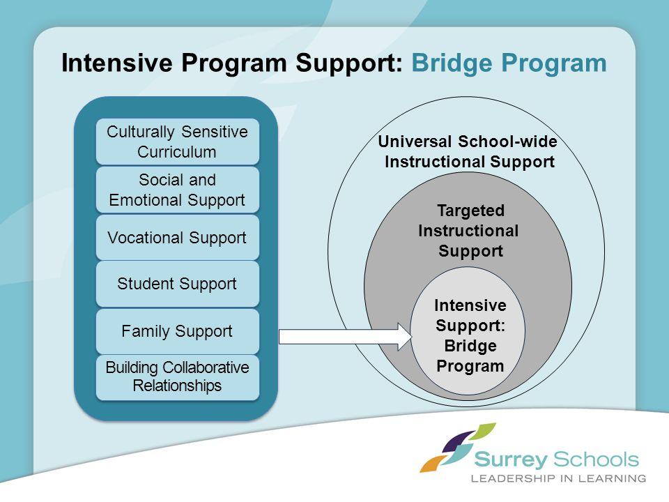 Intensive Program Support: Bridge Program Universal School-wide Instructional Support Targeted Instructional Support Intensive Support: Bridge Program