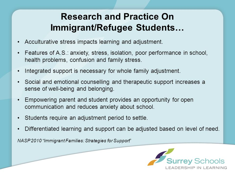 Research and Practice On Immigrant/Refugee Students… Acculturative stress impacts learning and adjustment. Features of A.S.: anxiety, stress, isolatio