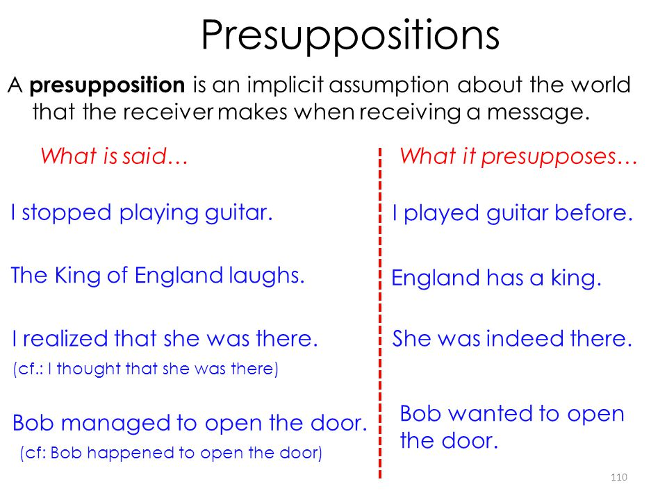 Presuppositions A presupposition is an implicit assumption about the world that the receiver makes when receiving a message. 110 I stopped playing gui