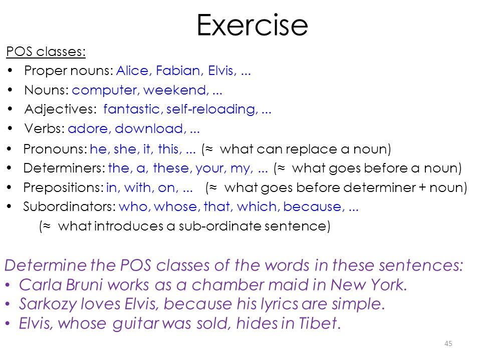 45 POS classes: Proper nouns: Alice, Fabian, Elvis,... Nouns: computer, weekend,... Adjectives: fantastic, self-reloading,... Verbs: adore, download,.