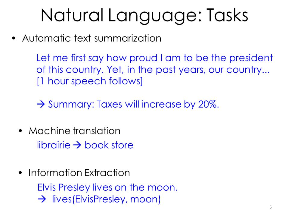 Natural Language: Tasks Automatic text summarization Information Extraction Machine translation librairie book store Elvis Presley lives on the moon.