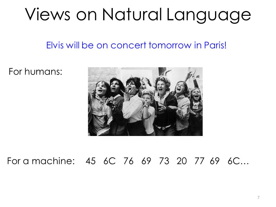 Views on Natural Language 7 Elvis will be on concert tomorrow in Paris! For humans: For a machine:45 6C 76 69 73 20 77 69 6C…