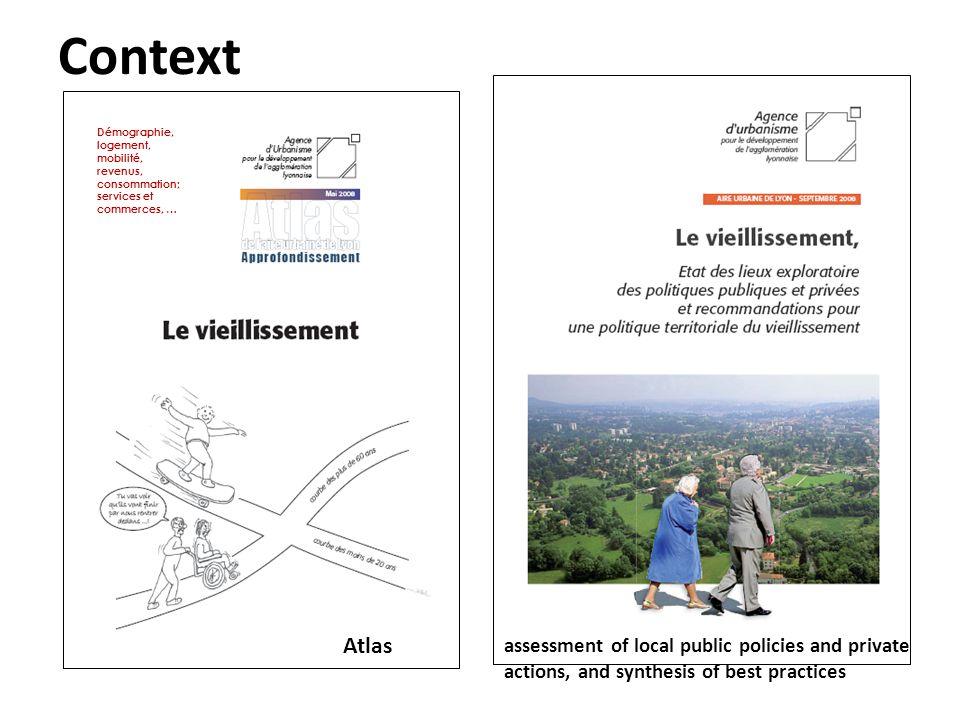 Démographie, logement, mobilité, revenus, consommation; services et commerces, … Atlas assessment of local public policies and private actions, and sy