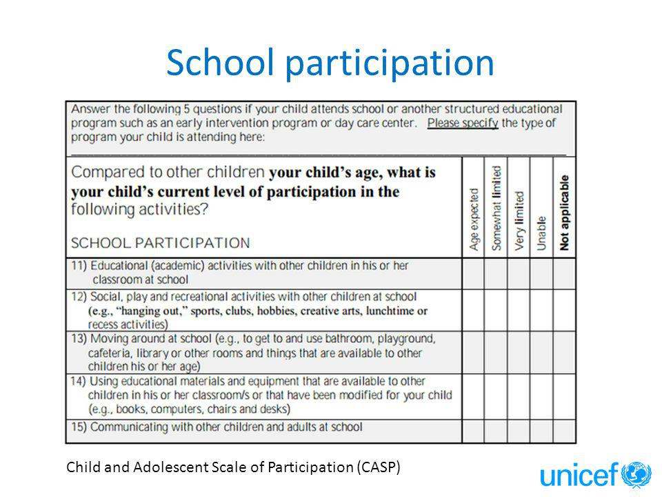 School participation Child and Adolescent Scale of Participation (CASP)