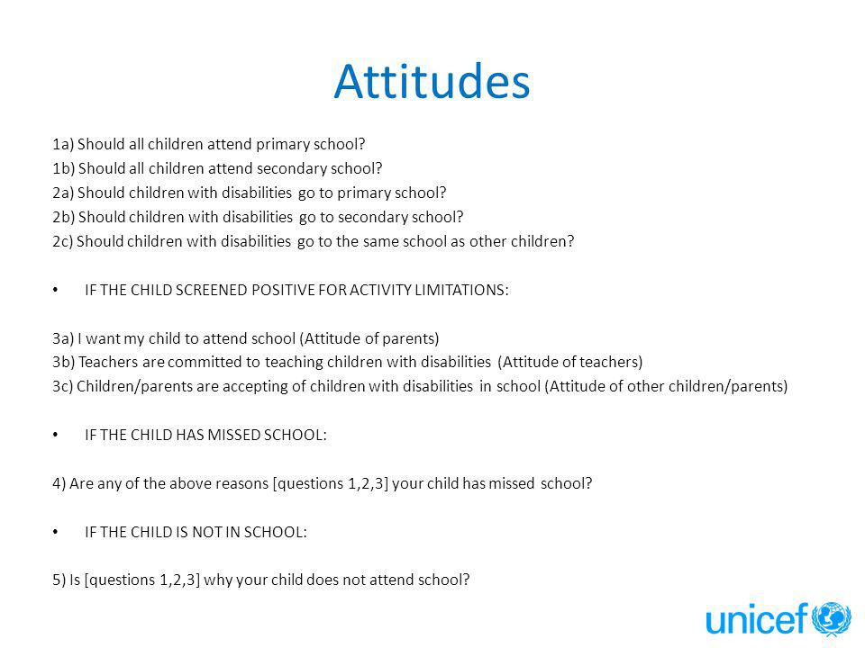 Attitudes 1a) Should all children attend primary school.