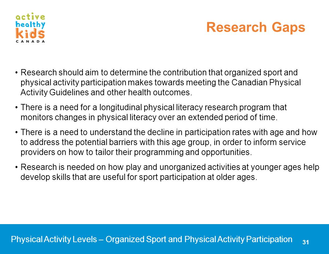 Research should aim to determine the contribution that organized sport and physical activity participation makes towards meeting the Canadian Physical