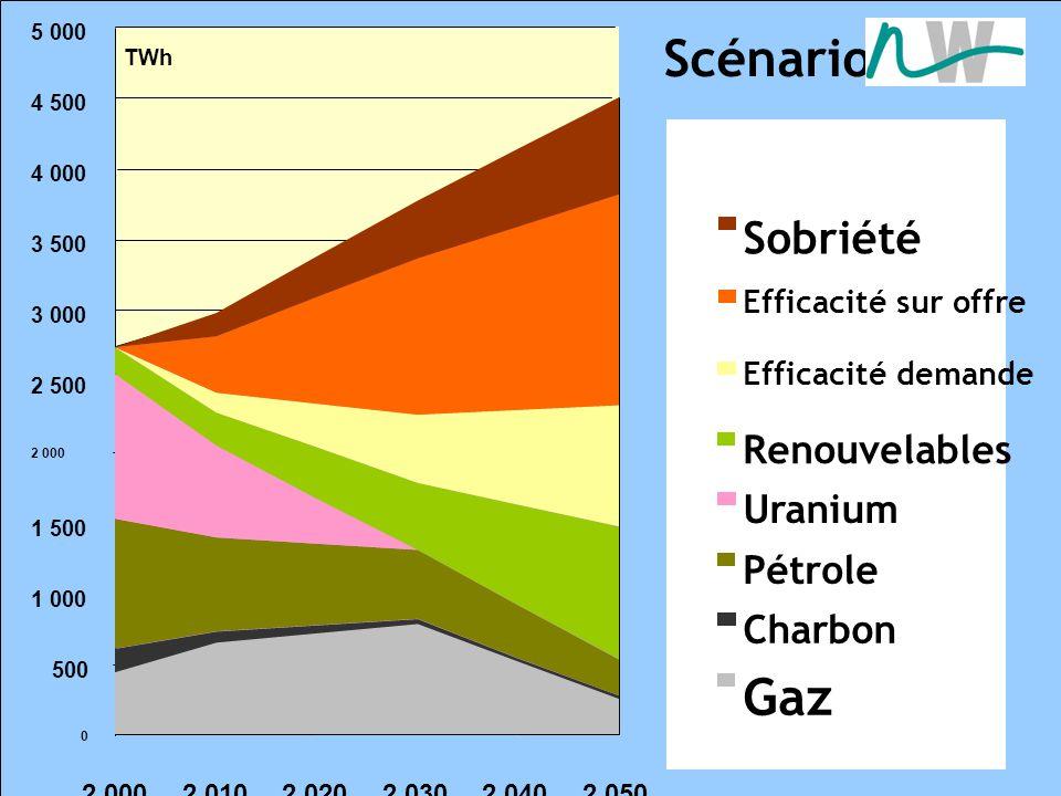 Scénario tendanciel 0 500 1 000 1 500 2 000 2 500 3 000 3 500 4 000 4 500 5 000 2 0002 0102 0202 0302 0402 050 TWh Renouvelables Uranium Pétrole Charbon Gaz