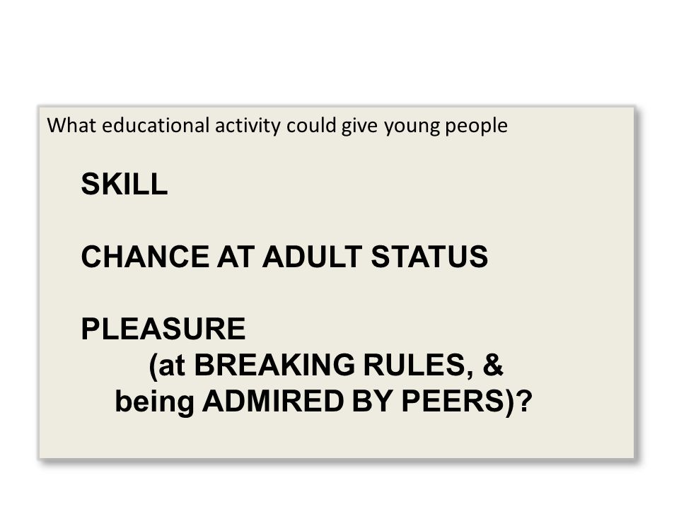 What educational activity could give young people SKILL CHANCE AT ADULT STATUS PLEASURE (at BREAKING RULES, & being ADMIRED BY PEERS)? What educationa
