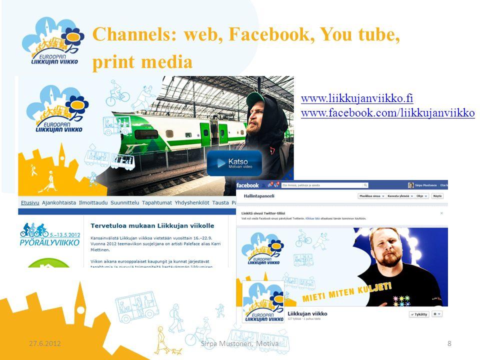 Channels: web, Facebook, You tube, print media 27.6.2012Sirpa Mustonen, Motiva8 www.liikkujanviikko.fi www.facebook.com/liikkujanviikko