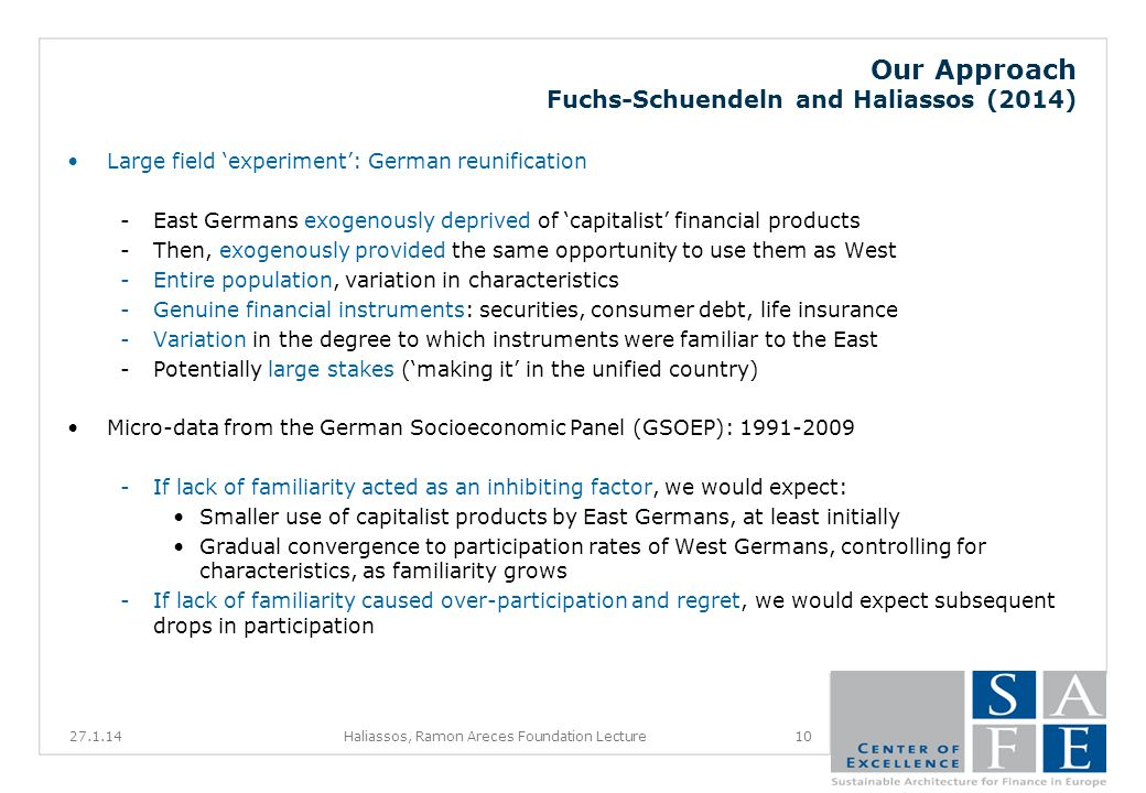 Our Approach Fuchs-Schuendeln and Haliassos (2014) Large field experiment: German reunification -East Germans exogenously deprived of capitalist financial products -Then, exogenously provided the same opportunity to use them as West -Entire population, variation in characteristics -Genuine financial instruments: securities, consumer debt, life insurance -Variation in the degree to which instruments were familiar to the East -Potentially large stakes (making it in the unified country) Micro-data from the German Socioeconomic Panel (GSOEP): 1991-2009 -If lack of familiarity acted as an inhibiting factor, we would expect: Smaller use of capitalist products by East Germans, at least initially Gradual convergence to participation rates of West Germans, controlling for characteristics, as familiarity grows -If lack of familiarity caused over-participation and regret, we would expect subsequent drops in participation 27.1.1410Haliassos, Ramon Areces Foundation Lecture