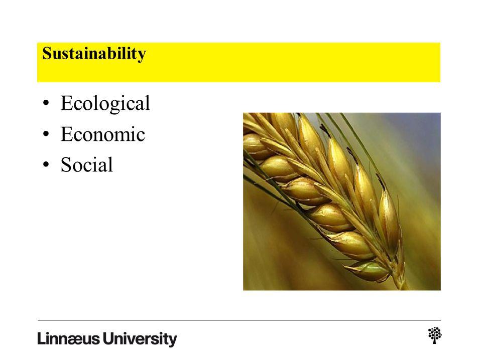 Sustainability Ecological Economic Social
