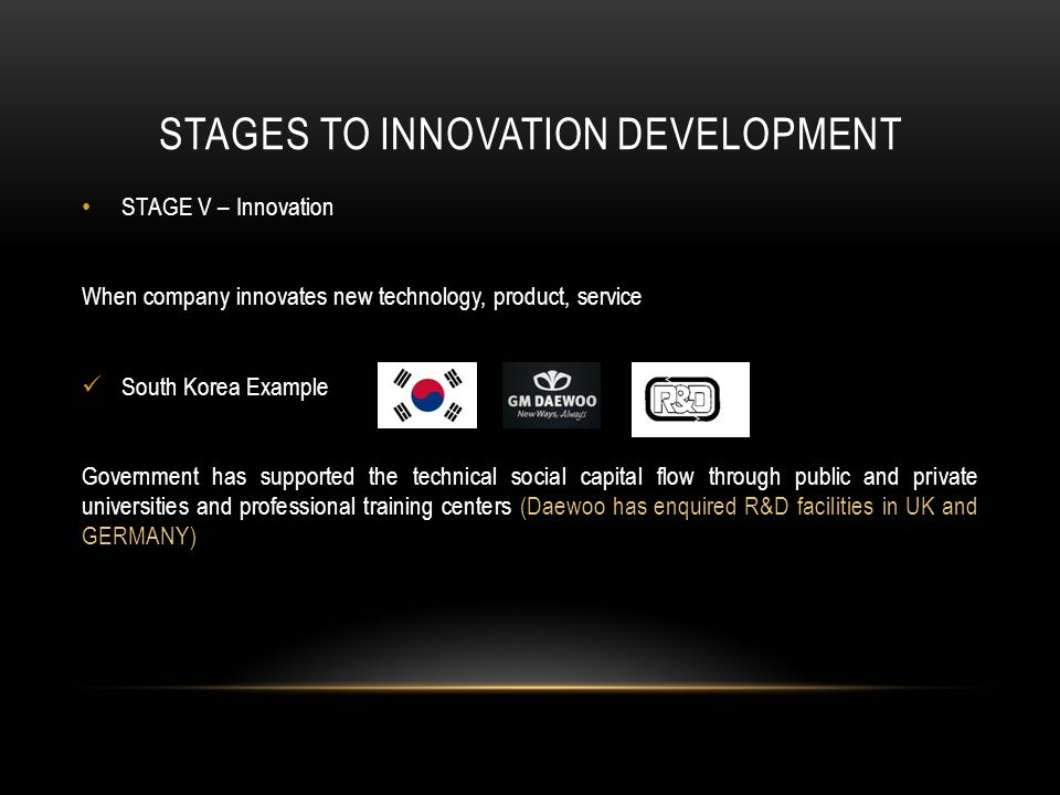 STAGES TO INNOVATION DEVELOPMENT STAGE V – Innovation When company innovates new technology, product, service South Korea Example Government has supported the technical social capital flow through public and private universities and professional training centers (Daewoo has enquired R&D facilities in UK and GERMANY)