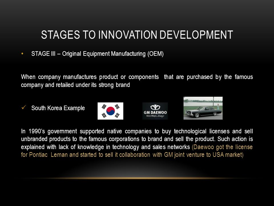 STAGES TO INNOVATION DEVELOPMENT STAGE III – Original Equipment Manufacturing (OEM) When company manufactures product or components that are purchased by the famous company and retailed under its strong brand South Korea Example In 1990s government supported native companies to buy technological licenses and sell unbranded products to the famous corporations to brand and sell the product.