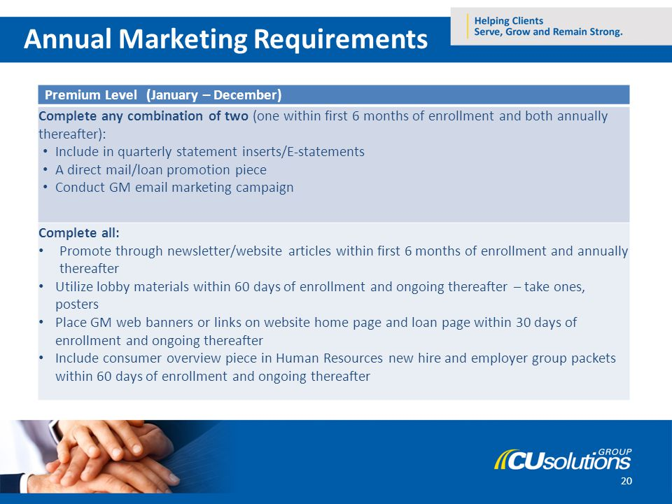 20 Annual Marketing Requirements Premium Level (January – December) Complete any combination of two (one within first 6 months of enrollment and both annually thereafter): Include in quarterly statement inserts/E-statements A direct mail/loan promotion piece Conduct GM email marketing campaign Complete all: Promote through newsletter/website articles within first 6 months of enrollment and annually thereafter Utilize lobby materials within 60 days of enrollment and ongoing thereafter – take ones, posters Place GM web banners or links on website home page and loan page within 30 days of enrollment and ongoing thereafter Include consumer overview piece in Human Resources new hire and employer group packets within 60 days of enrollment and ongoing thereafter