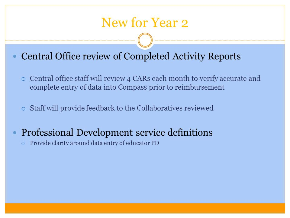 New for Year 2 Central Office review of Completed Activity Reports Central office staff will review 4 CARs each month to verify accurate and complete entry of data into Compass prior to reimbursement Staff will provide feedback to the Collaboratives reviewed Professional Development service definitions Provide clarity around data entry of educator PD